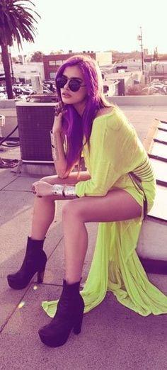 yellow summer dress & boots