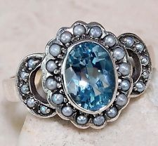 3CT Genuine Aquamarine & Seed Pearl 925 Solid Sterling Silver Art Deco Ring Sz 7