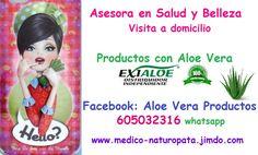 Productos 100% naturales con Aloe vera para toda la familia. Asesora de Salud y Belleza. Envíos a toda España. Entrega en mano o envío por correo. FACEBOOK: ALOE VERA PRODUCTOS