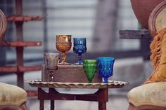 vintage multi-colored goblets.. photo: mint-2-be Mintage Rentals provides modern + vintage rentals for staging and special events.