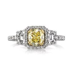 1.46ct Fancy Yellow Cushion Cut Diamond Engagement Ring