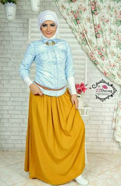 mostard maxi skirt Hijab casual styles by 27dresses http://www.justtrendygirls.com/hijab-casual-styles-by-27dresses/