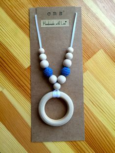 Nursing Necklace, Teething Necklace, Babywearing Necklace - Unfinished Wood Beads & Ring, Blue Crochet Beads, White Ribbon - pinned by pin4etsy.com