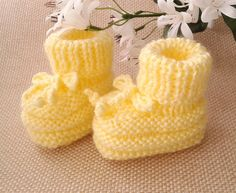 Yellow Baby Booties, Hand Knitted Baby Booties, Yellow Crib Shoes, Baby Shower Gift, Pregnancy Reveal Booties, Newborn Booties, Baby Clothes by FirstStepBabyBooties on Etsy