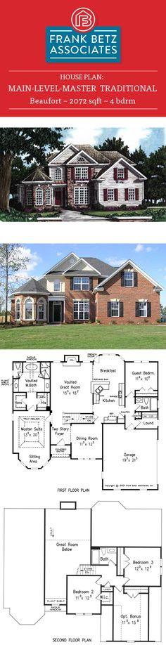 Beaufort: 2072 sq ft, 4 bdrm, Traditional main-level-master house plan design by Frank Betz Associates Inc.