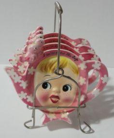 Set of tea bag holder pink Miss Cutie Pie with wire holder