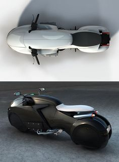 """The is a cross between something from Tron and """"a kind of Porsche or Aston Marti. - Motorcycles and Scooter - Photograpy Futuristic Motorcycle, Futuristic Cars, Concept Motorcycles, Custom Motorcycles, Design Transport, Tron Bike, Colani, Motorbike Design, Trike Motorcycle"""