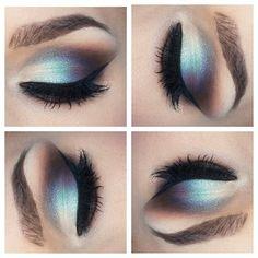 silver and blue eyeshadow