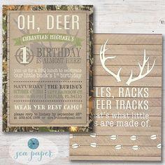 Camo Deer Boy's Birthday Party Invitation: Deer hunting tree camouflage BBQ Invite, wood background. Rifles, Racks and deer tracks on back