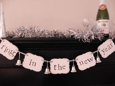 "new years party decorations ""ring in the new year"" sign banner garland New Year's Eve Celebrations, New Year Celebration, New Years Decorations, Diy Party Decorations, Holiday Fun, Christmas Time, Holiday Ideas, Pink Christmas, Vintage Holiday"
