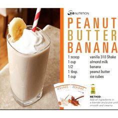 J Wow's Peanut Butter Banana Shake 310 Shake Recipes, Herbalife Shake Recipes, Protein Shake Recipes, Protein Shakes, Keto Shakes, Milkshake Recipes, Whey Protein, Smoothie Recipes, Diet Recipes