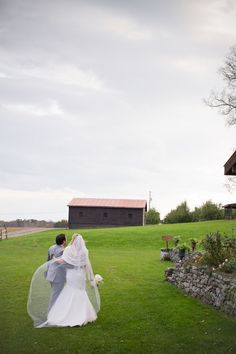 Walking off to the barn on the horizon...rustic chic wedding venue in upstate ny....Apple Barn Farm.