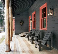 Adirondack Architecture - amazing! Love the Adirondack siding, dark brown stain, natural logs and pops of red!