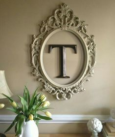 Spray painted Ikea frame and monogram letter from Hobby Lobby at front door entr.Spray painted Ikea frame and monogram letter from Hobby Lobby at front door entr.Home Wall Ideas Empty Frames, Ikea Frames, Large Frames, Empty Wall, Marco Ikea, Diy Home Decor, Room Decor, Room Art, Monogram Letters