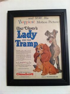 Rare original 1955 Lady and the Tramp Walt Disney color advertisement with frame