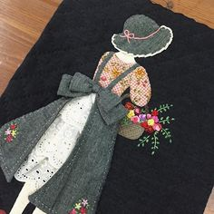 Vintage embroidery quilt in progressApplication doll with hat with skirt detail in white embroidered batiste. - Jo Jo Holmes - - Application doll with hat with skirt detail in white embroidered batiste.leisha' s galaxy embroidery ile ilgili görsel s Wool Applique, Applique Patterns, Applique Quilts, Applique Designs, Quilting Designs, Quilt Patterns, Sewing Patterns, Japanese Embroidery, Vintage Embroidery