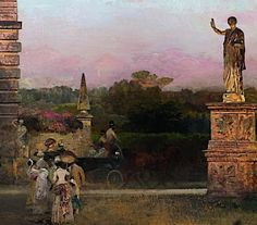 Detail from In the Park of the Villa Borghese, Oswald Achenbach, 1886
