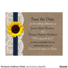 The Rustic Sunflower Wedding Collection - Navy Postcard The rustic sunflower collection is a stunning design featuring a lovely rustic burlap effect background with a romantic vintage white lace effect trim finished with a stunning sunflower and navy blue ribbon. These save the date postcards can be personalized for your special occasion and would make the perfect announcement for your wedding. *Please note that Zazzle only sell printed products so this item does not have any real burlap…