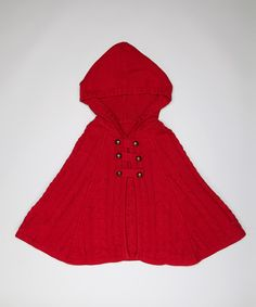 Little Red Riding Hood!  Red Cable-Knit Cape - Toddler & Girls