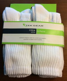 98e5be7aaac Tek Gear women s White Crew Socks 6 pairs size 9-11 Cushioned Stay Up Top