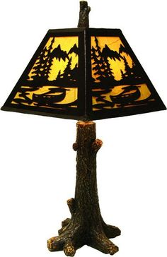 Bear cowboy coyote deer fish or moose lamp shades perfect for log 24 tall hand painted poly resin tree lamp will look great with any dcor features a great looking metal silhouette lamp shade pull chain onoff aloadofball