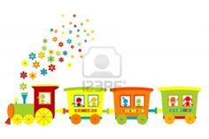 Toy train with happy kids Stock Photo