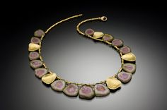 """Barbara Heinrich / Watermelon tourmaline slice necklace with five hand-fabricated 18kt gold shell elements and gold tube spacers, 15.5"""" long with a 2"""" extension chain."""