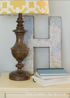 The Golden Sycamore: Distressed Wood Map Monogram Tutorial