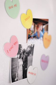How to make laminated heart magnets; can write with dry erase markers and erase with damp towel