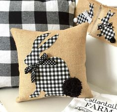This trendy check Bunny Pillow Cover is full of Easter goodness. With a big pom pom tail, this Easter Bunny Pillow Cover is sure to bring smiles and sweet love for the season. With its neutral color palette, it will easily blend in with the traditional pa Sewing Pillows, Diy Pillows, Decorative Pillows, Throw Pillows, Pillow Ideas, Applique Pillows, Diy Couch, Fall Pillows, Easter Pillows