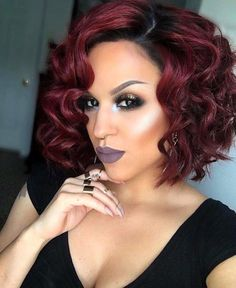 Dark red curly bob wigs for black women human hair wigs lace front wigs natural curly bob hair styles Bob Haircut Curly, Curly Bob Wigs, Curly Bob Hairstyles, Weave Hairstyles, Black Hairstyles, Bob Haircuts, Curly Short, Short Wigs, Hairstyles 2018