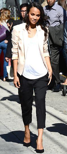 Zoe Saldana's Maternity Style - July 21, 2014 from #InStyle