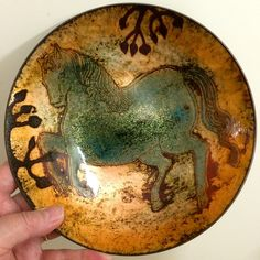 Enamelled horse bowl