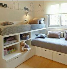 Dormitorio con dos camas colocadas en L  Deco children