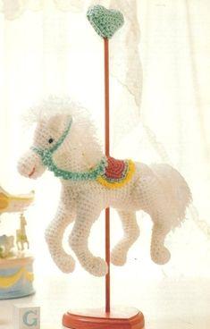 Crochet Patterns Carousel Horse pattern - Crochet an adorable carousel horse… Crochet Crafts, Crochet Dolls, Crochet Baby, Crochet Projects, Free Crochet, Crochet Horse, Crochet Animals, Amigurumi Patterns, Crochet Patterns