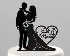 """Wedding Cake Topper Silhouette Bride and Groom, Your Choice: """"Just Married"""" or """"Mr & Mrs,"""" Acrylic Cake Topper [CT66jm]"""