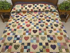 Hearts and Nine Patch Quilt -- marvelous adeptly made Amish Quilts from Lancaster (hs6077)