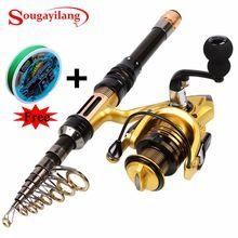 US $32.14 Sougayilang 1.3-2.4M Telescopic Carbon Fishing Rod and Fishing Reel Mini Spinning Fishing Rod Combos Free Braided Fishing line. Aliexpress product