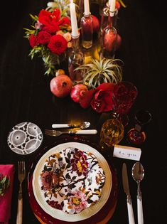 dark red holiday tablescape