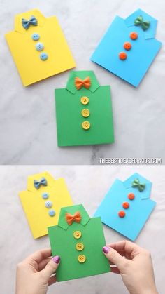 FATHER'S DAY SHIRT CARD - such an easy Father's dat craft for kids! A great diy father's day card! Preschool and kindergarten kids will love to make it too! perfect fathers day gift, ideas for fathers day crafts, fathers birthday gifts ideas Kids Fathers Day Crafts, Diy Crafts For Kids, Fun Crafts, Arts And Crafts, Paper Crafts, Card Crafts, Stick Crafts, Kids Diy, Diy Paper