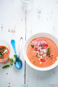 Watermelon, tomato and almond gazpacho