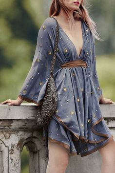 Plunging Neck Kimono Sleeve Contrasting Dress PURPLE: Bohemian Dresses | ZAFUL