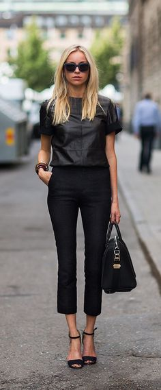 All black work chic outfit fashion mode, love fashion, autumn fashion Summer Work Outfits, Casual Work Outfits, Trendy Outfits, Outfit Work, Rock Chic Outfits, Outfit Summer, Work Attire, Work Casual, Fall Outfits
