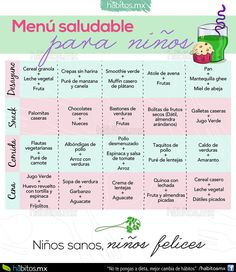 Hábitos Health Coaching | Un rico menú de ejemplo para niños!! Healthy Menu, Healthy Kids, Healthy Cooking, Menu Vegetariano, Baby Meal Plan, Kids Menu, Love Eat, Toddler Meals, Breakfast For Kids