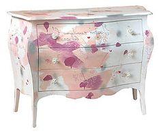 Como' in tanganica e tulipier con decorazione Fly rosa - 120x85x50 cm