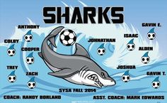Sharks-41519 digitally printed vinyl soccer sports team banner. Made in the USA and shipped fast by BannersUSA. www.bannersusa.com