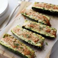 Grilled Stuffed Zucchini Boats - I will be trying these with onion, garlic & meat...=)
