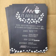 Happy Bridal Shower to Lucy today! I love designing fun little invites so when my friend who was helping plan the shower asked if I could design the invitation I was like UM YES I'D LOVE TO!  Since Lucy loves coffee and they're actually doing a coffee bar with brunch this morning we decided to add that into the invite. Love is Brewing  Lots of burlap and coffee bean rustic-ness going on today.