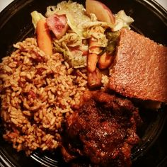 Oxtails, rice & peas, cabbage, blueberry cornbread I made