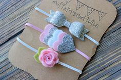 Felt and glitter headband set - newborn/baby/toddler headband - Petite headband set - pink and silver